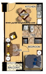 Park West The Fort 1-bedroom layout