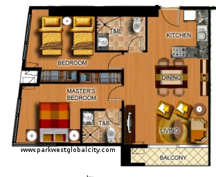 Oark West Global City 2 Bedroom layout