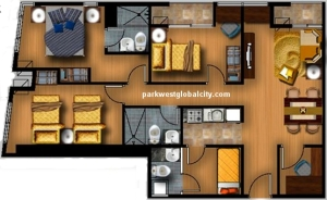 Park West 3-bedroom with 91 sq.m. layout