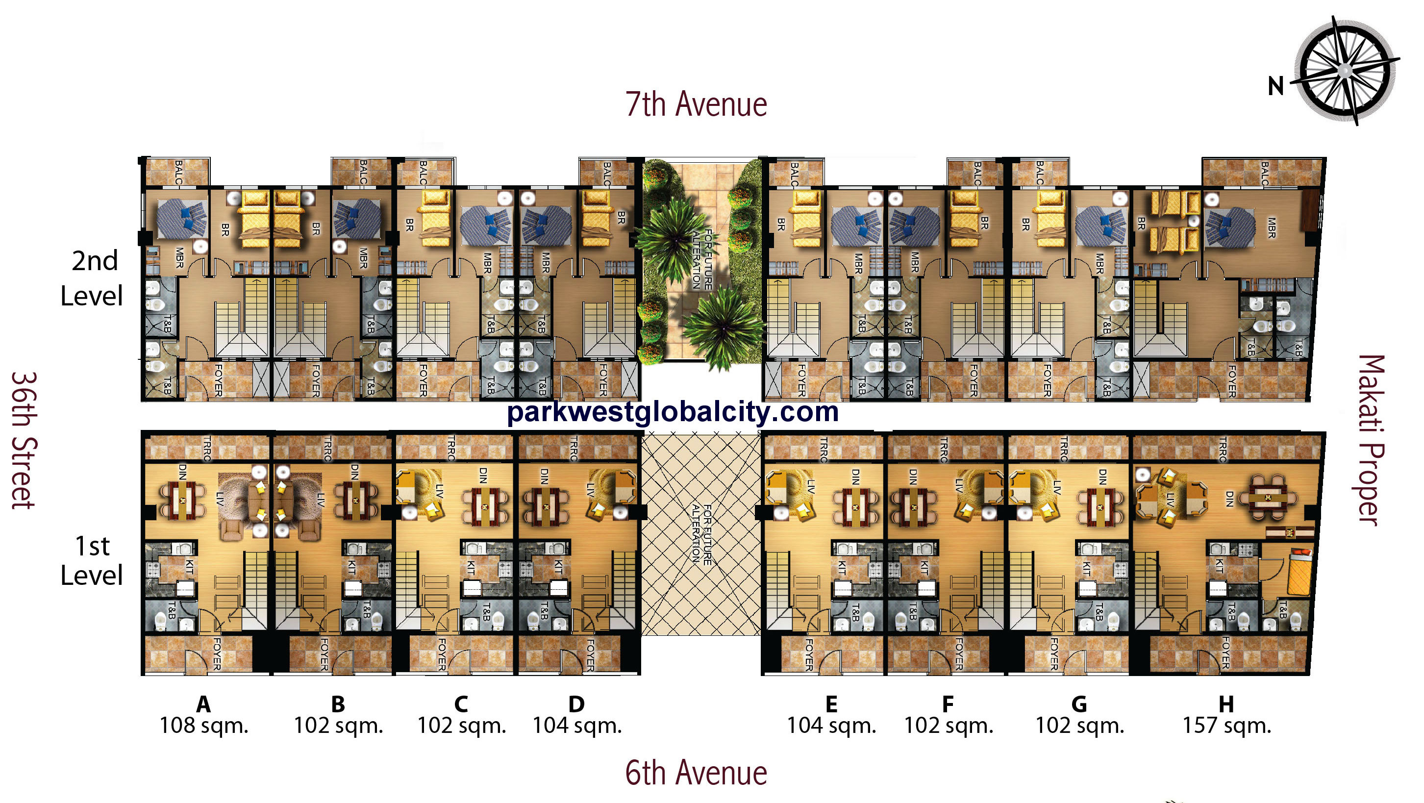 Floor plans park west global city for Villa designs and floor plans