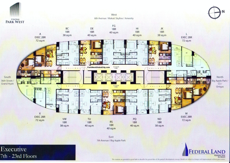 Central Park West 7th to 23rd floor plan